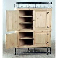 Armoire with Iron Base and Crown - 11132