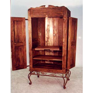 Armoire - Rustic with Leaf Design Iron Base - 8346