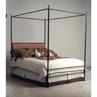 Iron - Complete Finished Bed w/Upholstered Headboard