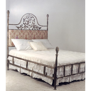 Four Poster Bed with Upholstered Vintage Headboard