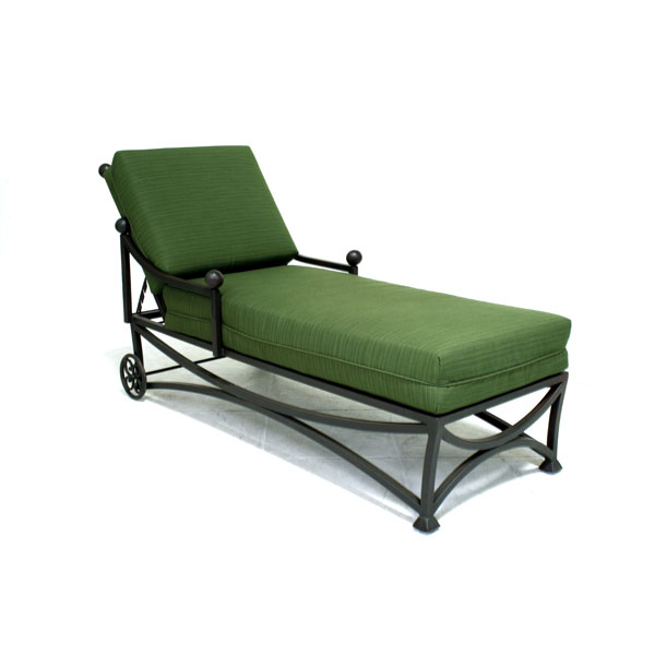 Iron Garden Chaise Lounge Recliner w/Cushion - 14858