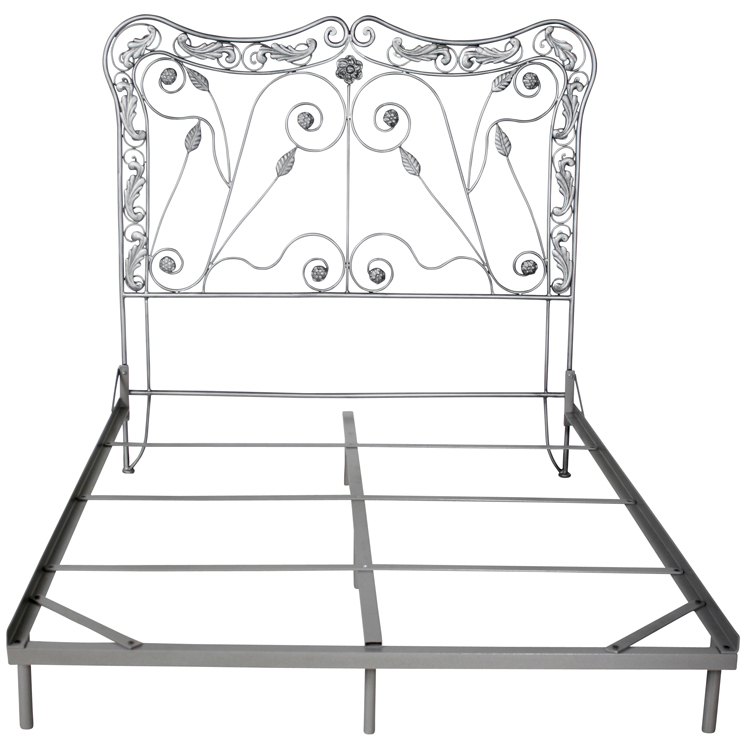 Iron Headboard with Leaves and Curls Design - 43408
