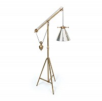 Weighted Floor Lamp - Antique Silver Glass Shade - 15807ESQ
