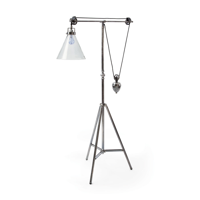 Weighted Floor Lamp - Vintage Steel Finish - Clear Glass Shade - 15807