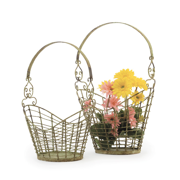 Set Of Two Stork Baskets